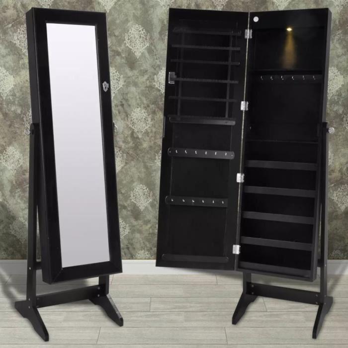 Armoire à bijoux Armoire de rangement sur pied avec miroir et éclairage LED  Noir