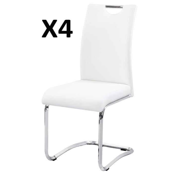 CHAISE Lot De 4 Chaises Salon Blanc Chrom 430 X 570