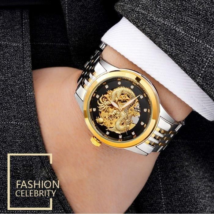 Montres Montre En Affaires Automatique Homme Inoxydable Dragon Bracelet Watch Mouvement Skeleton Gold Acier Luxe Diamant DI9EWHY2