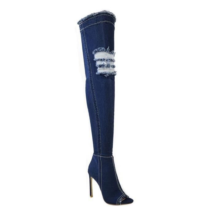 Peep Knee Over Bottes Femme Cuisse Boots toe Jeans Été Stiletto Longue Haut Automne Hautes Talon Minetom tz0qIdxx