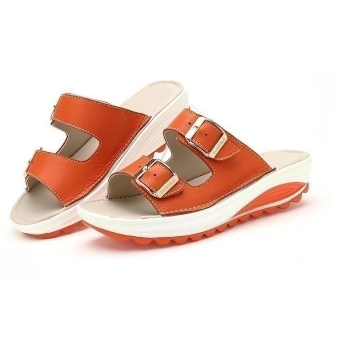Été Nouveau Femmes Sandales Mode Chaussures Compensées dames blanches sexy Slipper en cuir,Orange,3.5