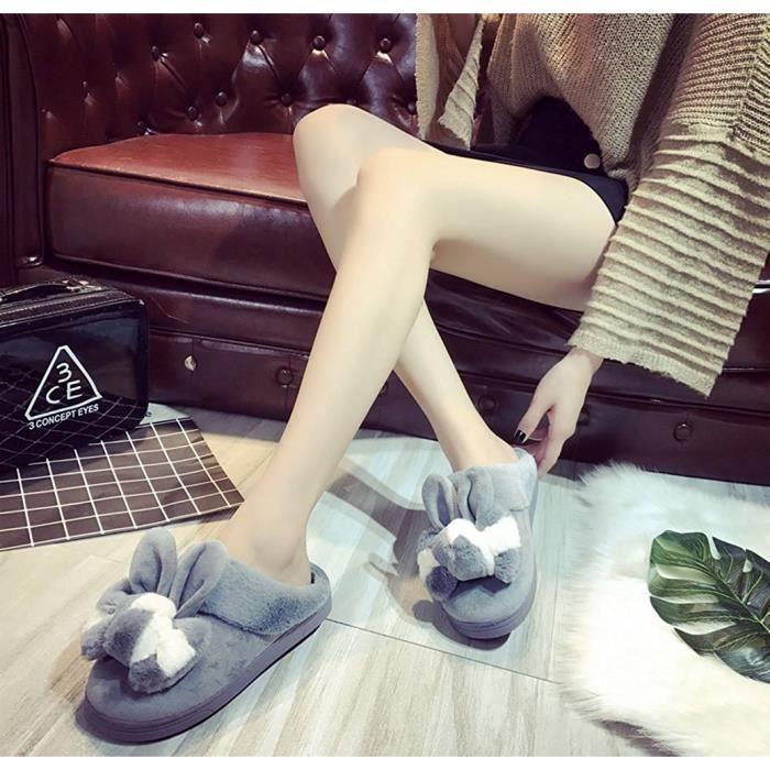 Minetom Hiver Unisex Intérieure Chaussons Coton Pantoufles Peluche Chaudes Patte D'Ours Chaussons Hommes Femmes Slipper