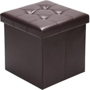 TABOURET Tabouret pouf coffre de rangement brun pliable 38x