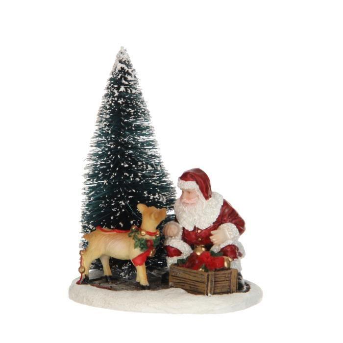Personnage de Noël - Père de Noël qui décore le sapin - Polyrésine - 8x6,5x9,5 cm - Multicolore