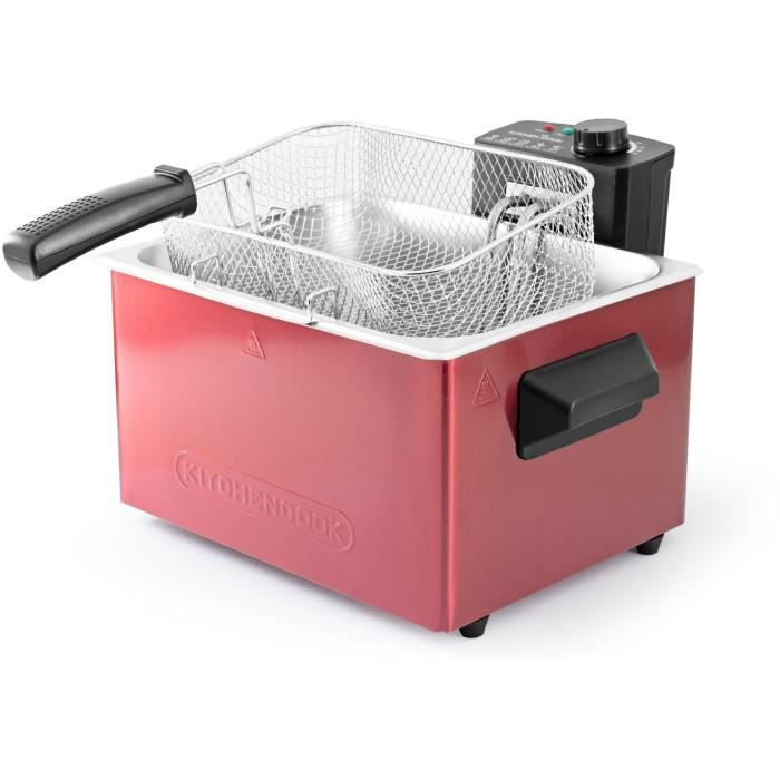 KITCHENCOOK - FR5050 INOX RED - Friteuse - 2000W - 5L - Rouge