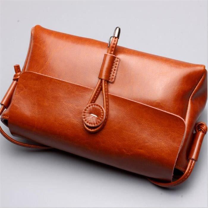 d2c36334e3 Sac à main femme 2017 Nouvelle mode Sac à bandoulière femme marron petit sac  à bandoulière sac en cuir véritable sac cuir vintage