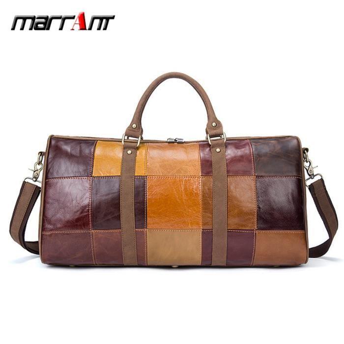 20c3d15dbd Sac de voyage en cuir couture Europe et Amérique marque grande capacité sac  de voyage en cuir première couche sac polochon
