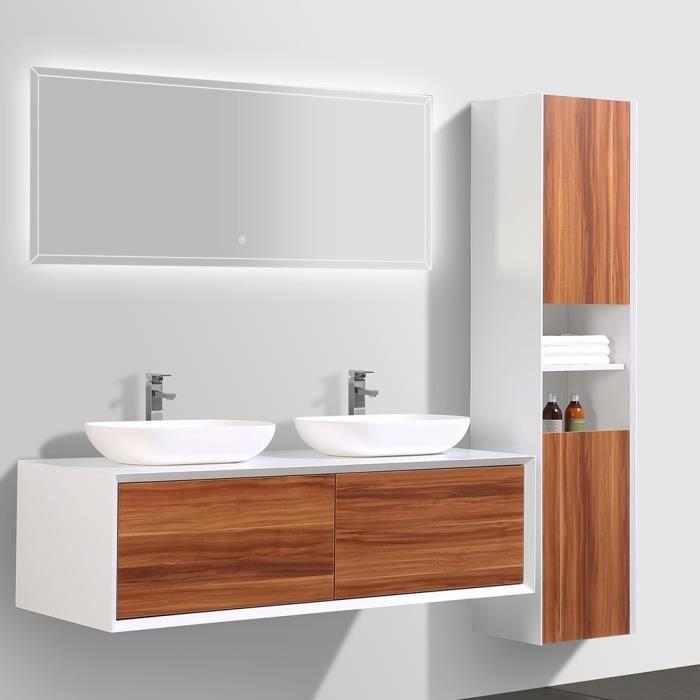 meuble de salle de bain double vasque avec colonne de. Black Bedroom Furniture Sets. Home Design Ideas