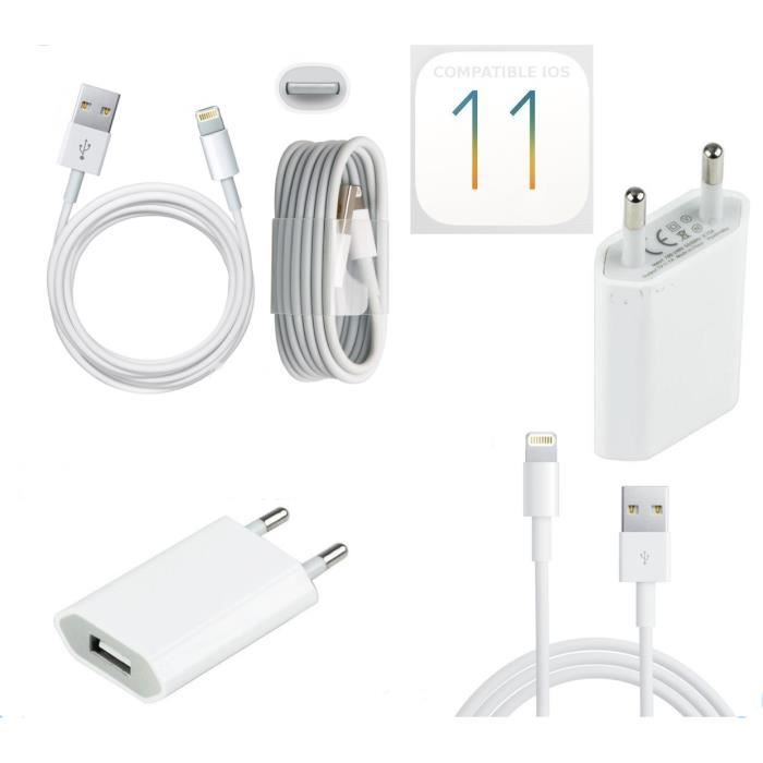 CÂBLE TÉLÉPHONE Chargeur Secteur + Cable Usb pour Iphone 6 / 6S /