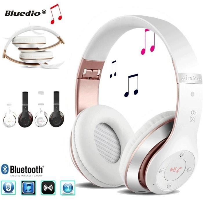 Bluetooth Casque Sans Fil 4.0 Lourde Basse Stéréo Auriculares Pliant Avec Micro Soutien Tf Carte Sd - Or Rose