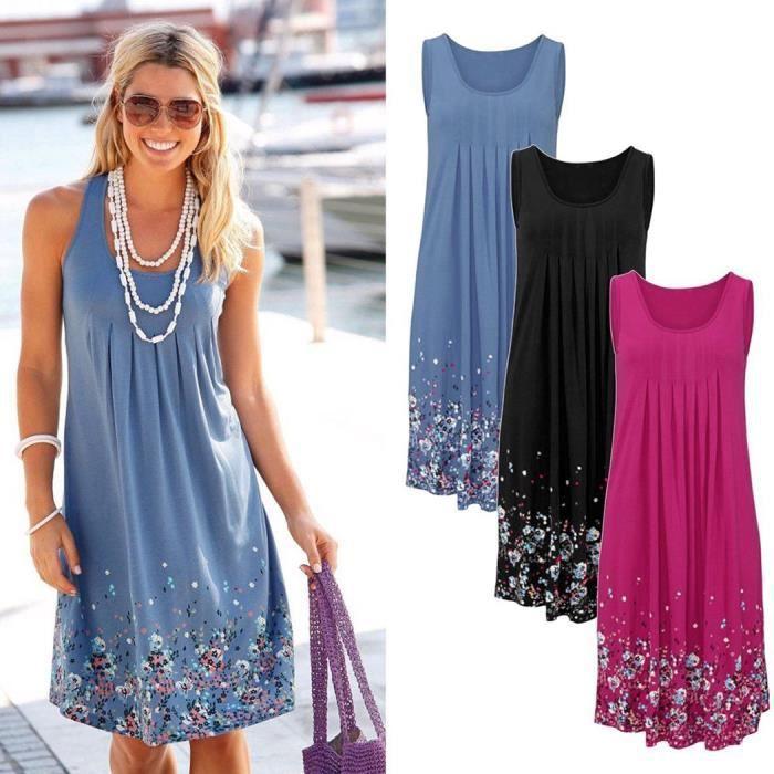 2843d69ed3e66 Nouveau coton femmes robe d été sans manches im... Bleu - Achat ...