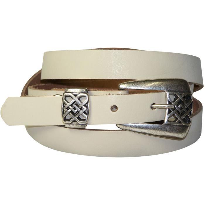 e8eec81e29bc FRONHOFER Fine ceinture pour femme 2 cm boucle à arabesques couleur argent  vieilli, ceinture en cuir véritable, grande taille de