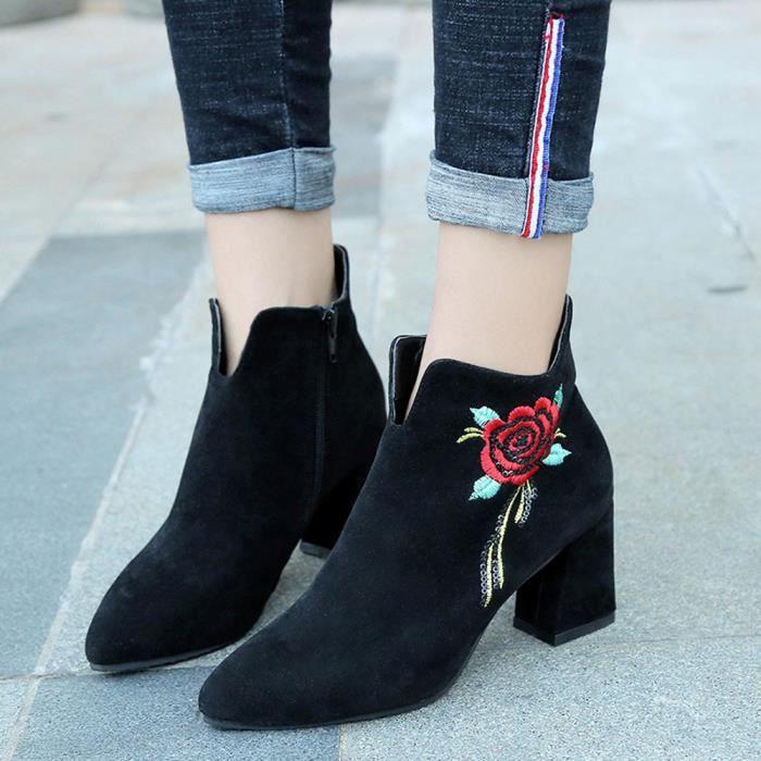 Cuir En Le Sdm70906255 De Talon Mocassin Des Ont Haut Occasionnel Brodé Bottes Veau Chaussures Les Femmes w1pXqXY