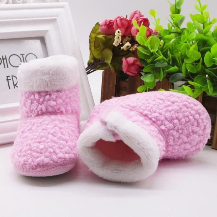 Bottes de semelle souple bébé nouveau-né solide Prewalker chaussures chaudes Rose2LAO-447