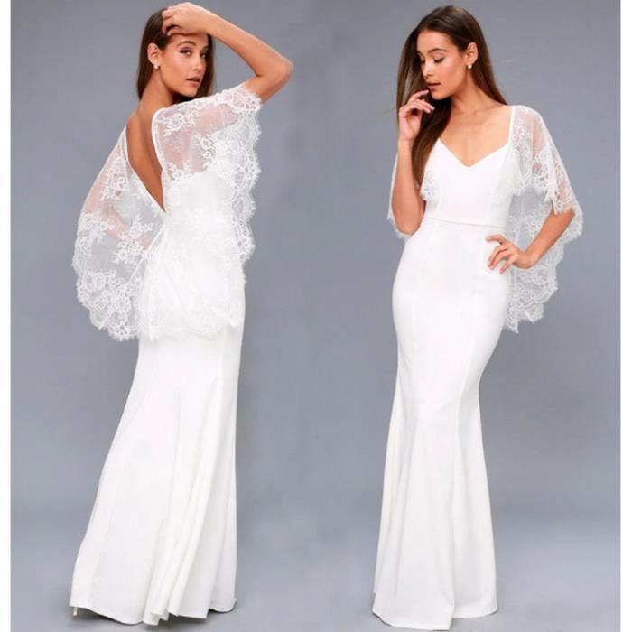 61828900173 Robe longue châle en dentelle blanche Blanc Blanc - Achat   Vente ...