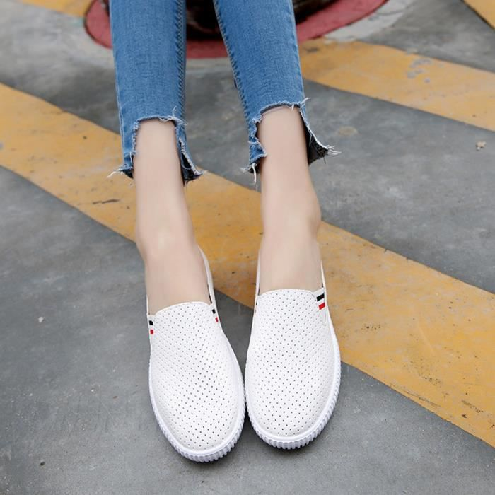 Ronde 1254 forme Femmes Talon Mesdames Toe Plate gei Vider Plat Blanc Casual Chaussures Slip wOSA1t