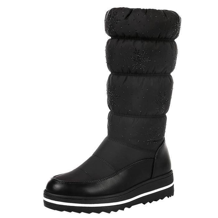 Chaud Rond Femme Garder Hiver Force Élastique Épais Bottes Bout Chaussures De Noir Neige Bas HwtUdqrtfn