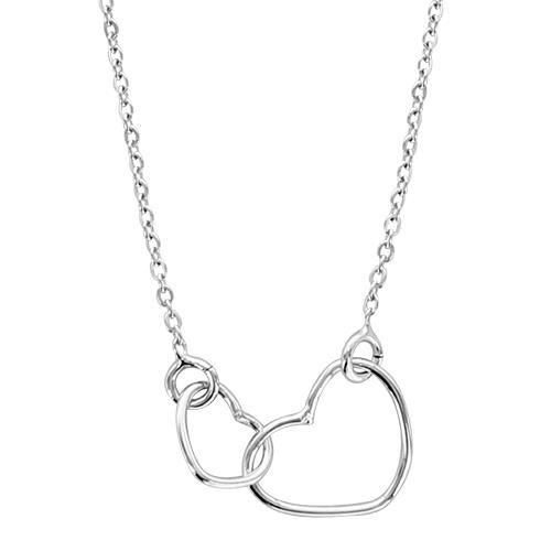 Collier Femme 40 + 5 cm Double Coeur Argent