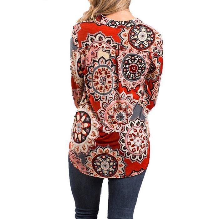 Loose Ajuster Manches Hauts Wll4633 En shirt La Taille Imprimé Plus VebergeFemmes T V Encolure Chemisier Longues F1lJcK
