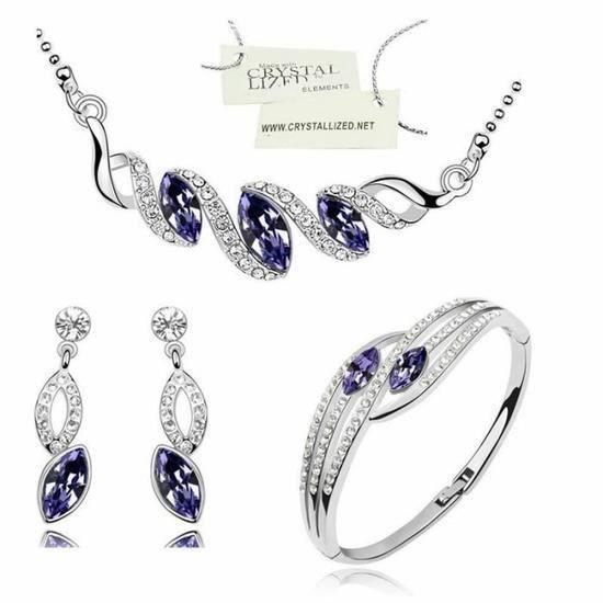 Coffret Parure Bijoux Goutte Diamantée 5 Pièces Cristaux Swarovski Elements