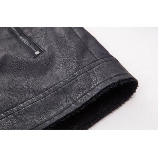 Luxe Manteau Hiver En Fourrure Pl Pour Fit Blouson Moto Lapel Cuir 8pxR1 d851e86095e