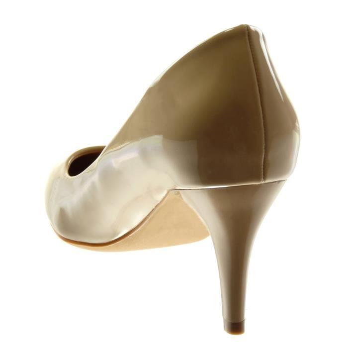 Angkorly - Chaussure Mode Escarpin stiletto Decolleté femme verni Talon haut aiguille 7.5 CM - Beige - XH1031 T 36
