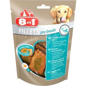 8in1 Filets de poulet séchés Pro Breath enrichis en menthe et persil - Taille S - Pour Chien - Carton de 8 sachets