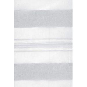 VOILAGE Voilage Blanc à Jeux de Rayures Gris clair 145 x 2