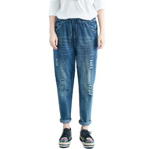 JEANS Jean Femme Sarouel Taille Elastiquee Abrasion Effe ... 70f0d68a485f
