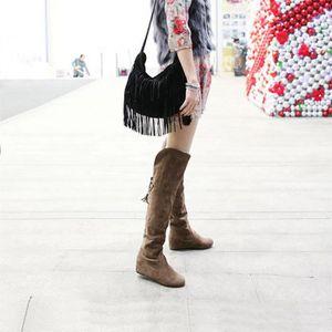 CUISSARDES femmes d'hiver en peluche chaud Bottes Lacets conf