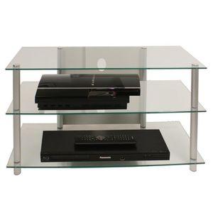 MEUBLE TV VCM 14120 Sindas Meuble TV Aluminium-Verre Argent-