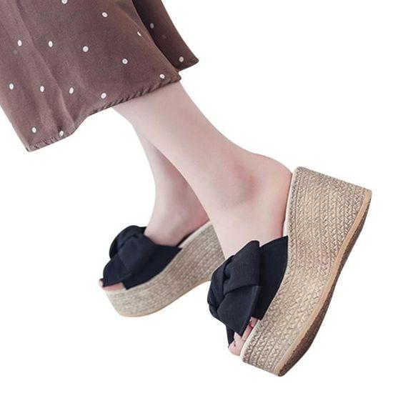 5689 Compensées Plate Féminine Massif Fond Sandales à Mode Chaussures Plateforme épais Chausson oreCdxB