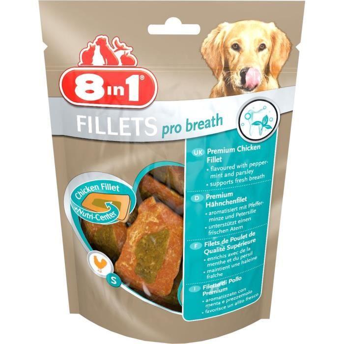 8in1 Filets de poulet séchés Pro Breath enrichis en menthe et persil - Taille S - Pour Chien