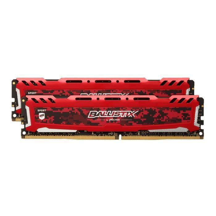 BALLISTIX - Mémoire RAM PC - Sport LT Rouge - DDR4 - 2X16Go - 3000 MHz - UDIMM (BLS2K16G4D30AESE)