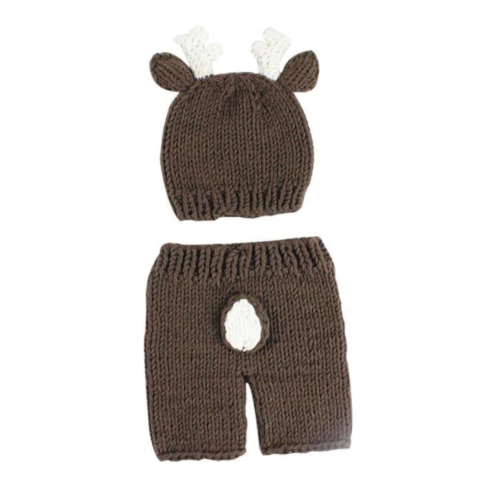 Bébé cerf nouveau-né ensemble costume de dessin animé crochet de la  photographie bonnet casquette HYM70708321 d1c78d937e0