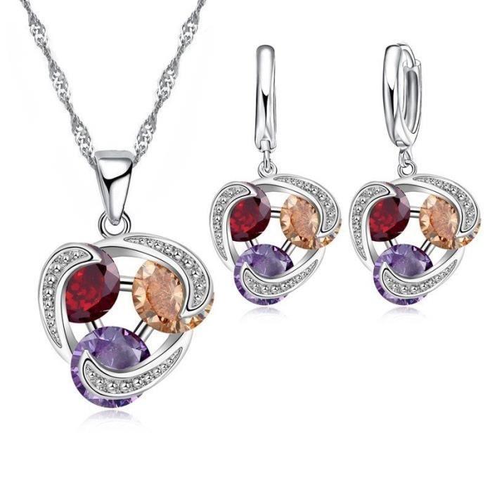 Parure bijoux 3 oxyde de zirconium en cercle argent 925 Couleur Multicolore