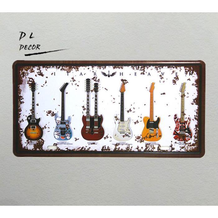 Dl Guitare Plaque Dimmatriculation Vintage Métal Inscrivez Accueil