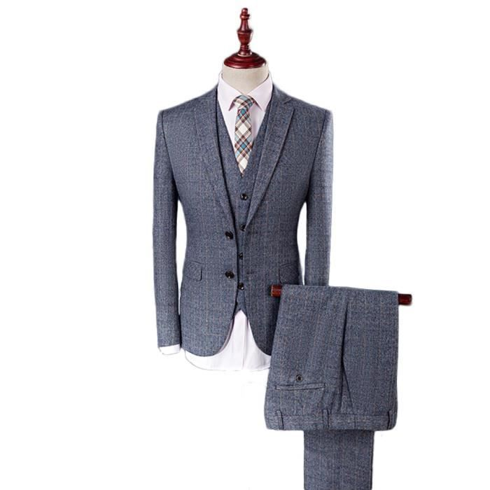 costume 3 pieces gris achat vente pas cher. Black Bedroom Furniture Sets. Home Design Ideas