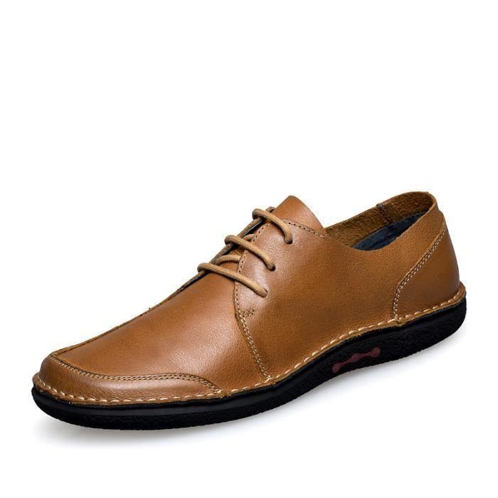 5235-Marron-44 Chaussures Choix de la première couche de cuiren cuirdécontractéess en cuir