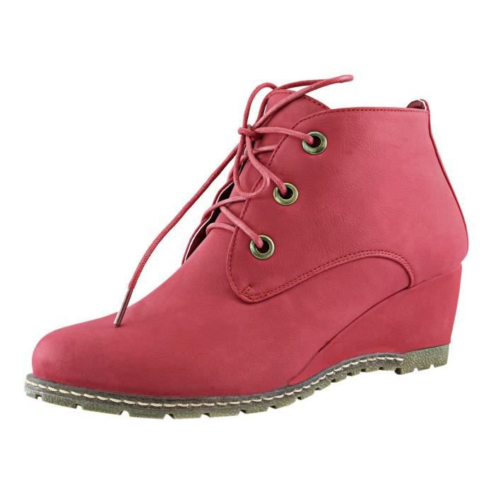 Womens Lace Up Wedges Bootie Fashion Casual Outdoor Adorable Almond Toe Ankle Boots YNV7C Taille-37 1-2