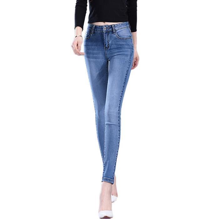 a33532c92bc5c7 Jean Slim Fit Taille Haute Femme Stretch Effet Délavé Jean Skinny 5 Poches  Amincissant