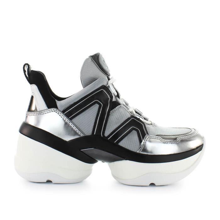 06193aca6345b6 Chaussures Femme Baskets Olympia Trainer Noir Argent Michael Kors Printemps,été  2019 ...