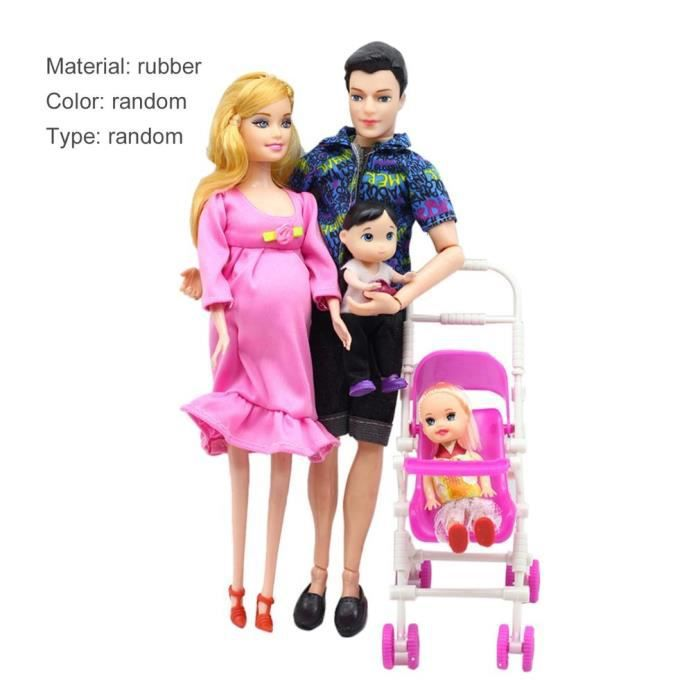 wholesale uk availability official photos Famille Poupée Barbie ensemble garçons et filles, maman enceinte, papa,  poussette(style de couleur aléatoire) Enfant jouets cadeaux