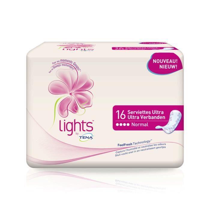 Serviettes hygiéniques pour fuites urinaires TENA Lights - Incontinence modérée - Lot de 16