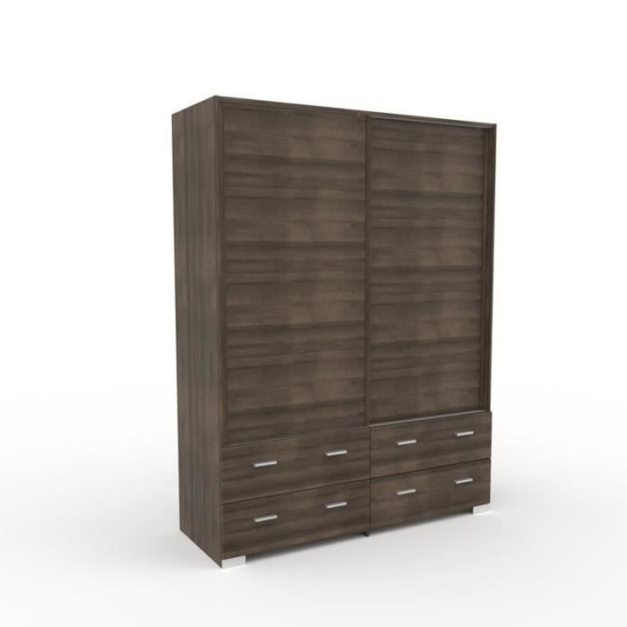 Armoire Dressing Noyer Portes Coulissantes - LILLE