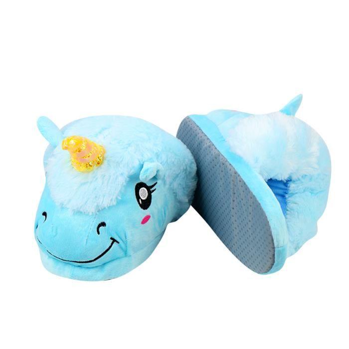 Chaussons Enfant Licorne Pantoufles en Peluche Hiver Domicile en coton chaud Drôle mignon Cartoon Animal Noël pantoufle YW3DtPavHU