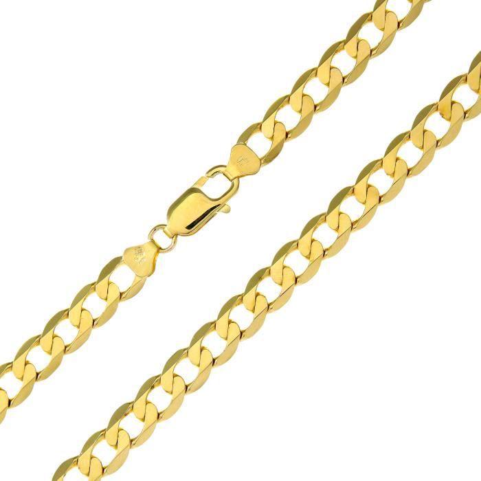 Revoni - Bracelet à chaîne courbée en or jaune 9 carat 11,9 g, longueur 22 cm et largeur 7,3 mm.