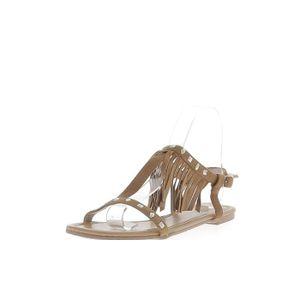 SANDALE - NU-PIEDS Sandales spartiates camel aspect daim avec fines b ... b5c396c92aa3