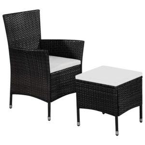 FAUTEUIL JARDIN  Chaise d'extérieur et tabouret Noir et blanc crème