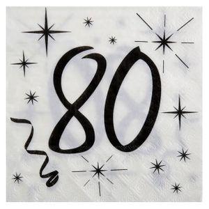 SERVIETTE JETABLE Serviette anniversaire blanche 80ans (x20) REF/524